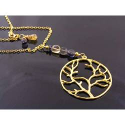 Gold Tree, Iolite and Citrine Necklace