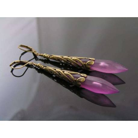 Vintage Style Purple Drop Filigree Earrings
