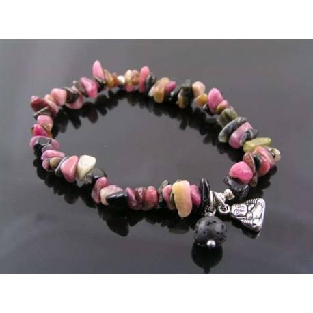 Tourmaline Bracelet with Buddha Charm