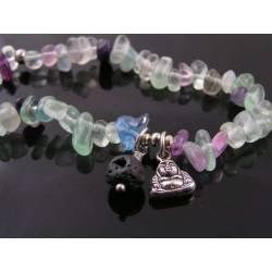 Fluorite Bracelet with Buddha Charm, Yoga