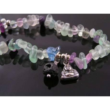 Fluorite Chip Bracelet, Buddha Charm