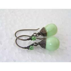 Wire Wrapped Light Green Earrings