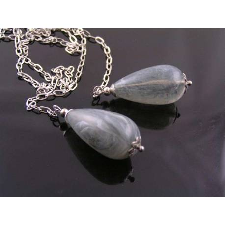 Grey Drop Silver Scarf Necklace