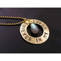 'Forever in my Heart' Inspirational Necklace with Labradorite