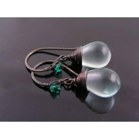 Wire Wrapped Aqua Teardrop Earrings