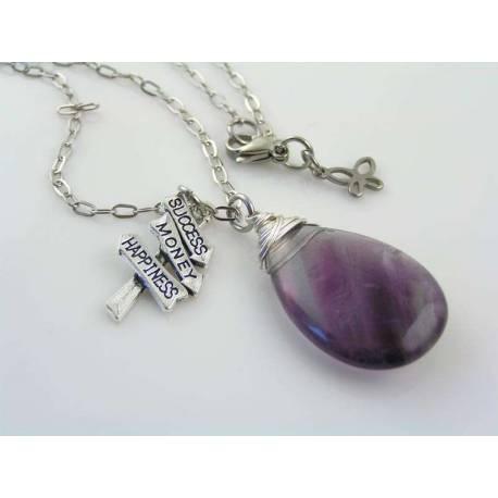 Large Fluorite Gemstone Charm Necklace