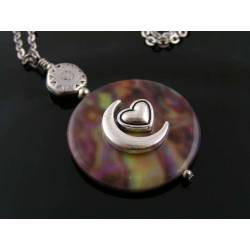 Colourful Shell Pendant with Moon and Heart Necklace