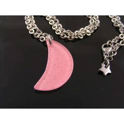 Pink Glitter Moon Necklace