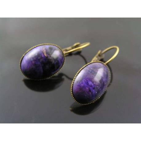 Oval Purple Earrings, Vintage (Made in Germany)