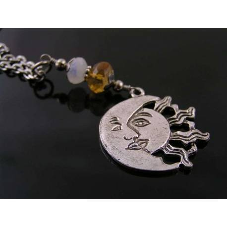 Sun Moon Necklace with Moonstone and Citrine