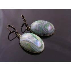 Large Green Drop Earrings, Vintage Cabochon
