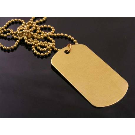 Solid Brass Dog Tag Necklace