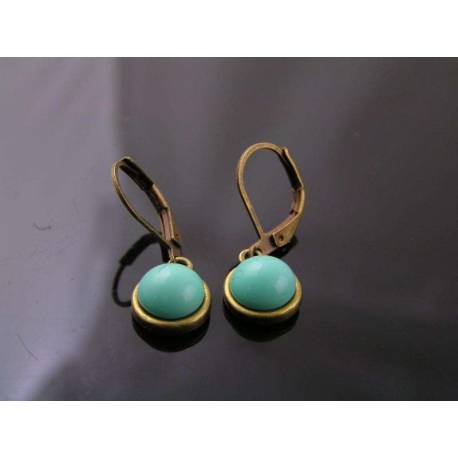 Earrings with Vintage Turquoise Cabochons