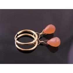 Peach Moonstone gold filled Hoop Earrings