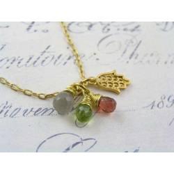 Hamsa Hand Necklace with Grey Moonstone, Garnet and Peridot