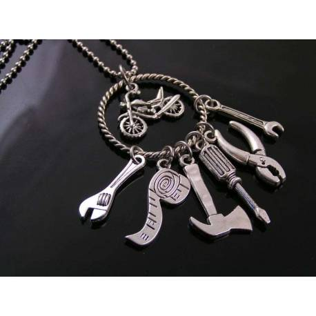 Mechanical Tools Necklace, Motorcycle Rider Necklace