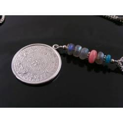 Aztec Calendar, Labradorite, Rhodochrosite and Apatite Necklace