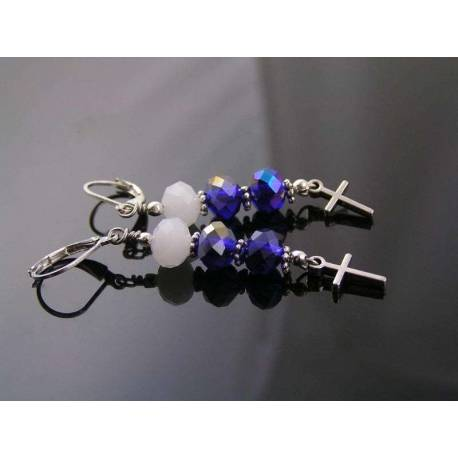 Blue Crystal and Cross Charm Earrings