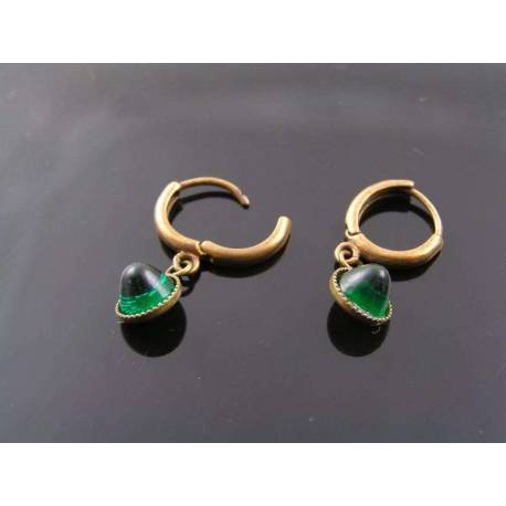 Vintage Glass Green Drop Hoop Earrings