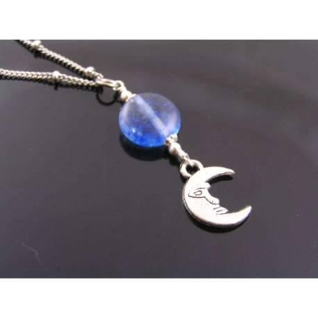 Blueberry Quartz Moon Necklace