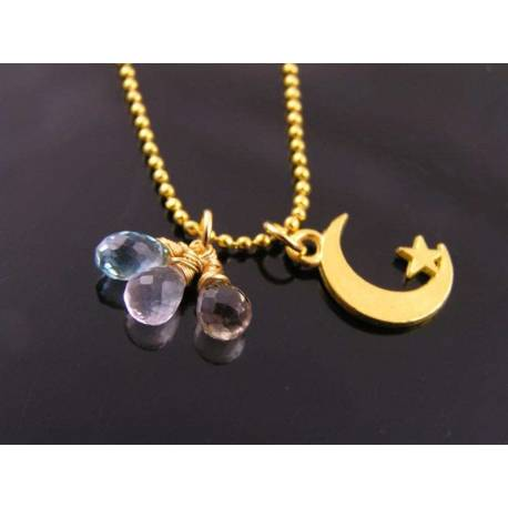 Gold Moon and Star Necklace with Citrine, Blue Topaz and Rose Quartz