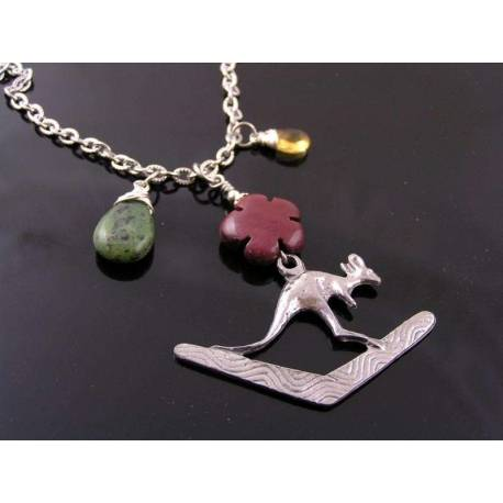 Australia Necklace with Boomerang and Kangaroo Pendant