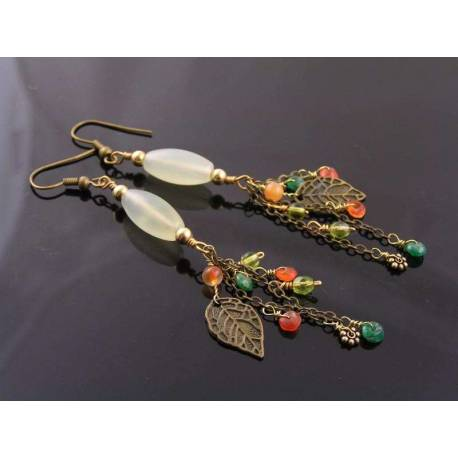 Serpentine, Gemstone and Leaf Earrings