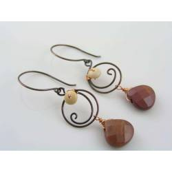 Wire Wrapped Mookaite Earrings