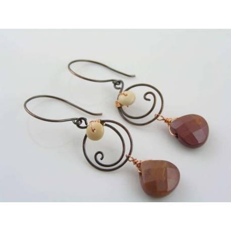Wire Wrapped Mookaite Earrings
