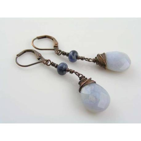 Natural Blue Chalcedony Earrings, Sodalite