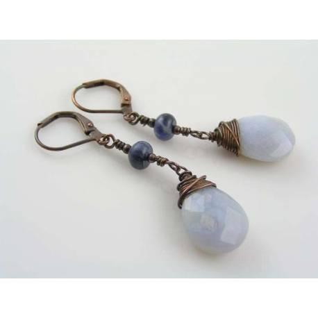 Natural Blue Chalcedony Earrings, Sodalite
