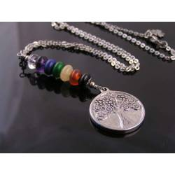 Tree of Life Necklace with Gemstones in Chakra Colours