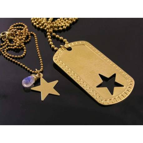 Matching Couple Necklace, Dog Tag and Star