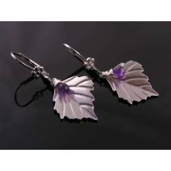 Silver Leaf Earrings with Amethyst