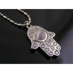 Hamsa Hand Necklace with Cat's Eye