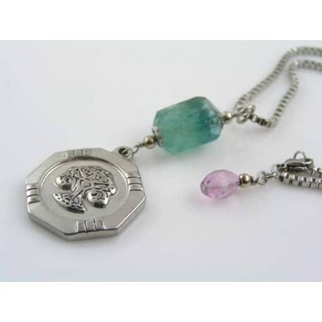 Fluorite Necklace with Tree of Life Pendant, Stainless Steel