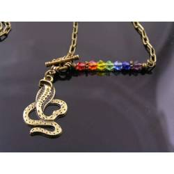 Rainbow Snake Necklace, Crystals