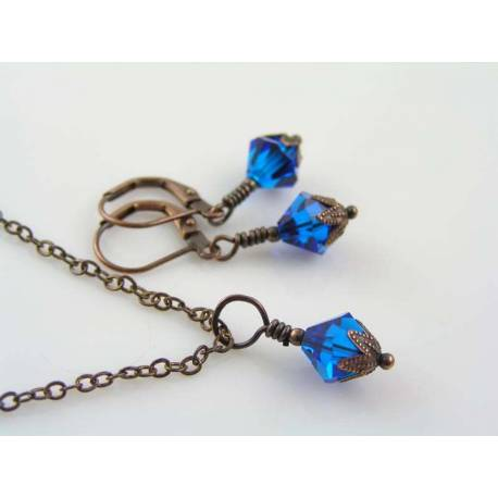 Blue Swarovski Crystal Earring and Necklace Set