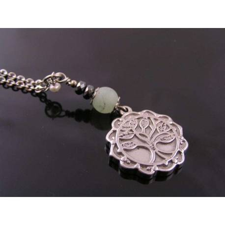 Scalloped Tree of Life Pendant with Aventurine, Hematite and Pearl