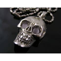 Heavy Skull Necklace with Cat's Eye