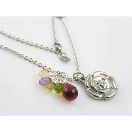 Rose Necklace with Gemstones, Agate, Citrine, Amethyst and Peridot