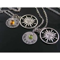 2 Compass Necklaces with Birthstones, Hand Stamped 'Find Your Way' 'Back To Me'