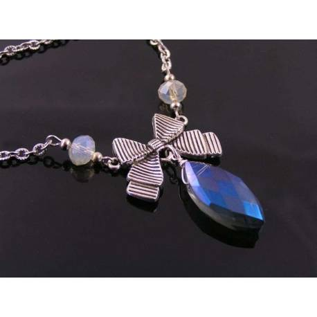 Blue Crystal Bow Necklace