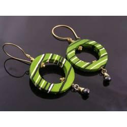 Green Retro Hoop Earrings