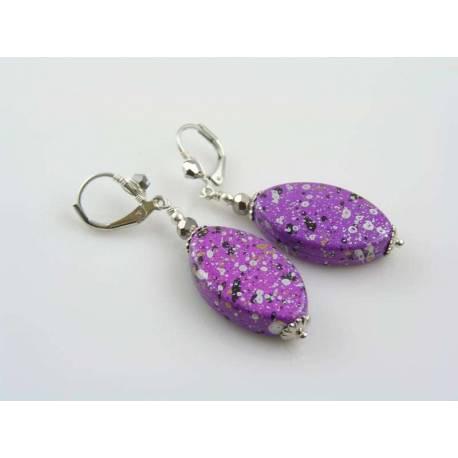 Purple Retro Earrings, Wire Wrapped