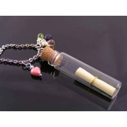 Message in a Bottle, Necklace with Amethyst, Citrine and Peridot