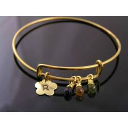 Expandable Bangle with Gemstones and Initial, Customizable