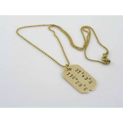 Solid Brass Necklace with Coordinates of Your Choice