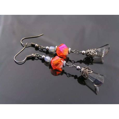 Dramatic Red and Black Earrings