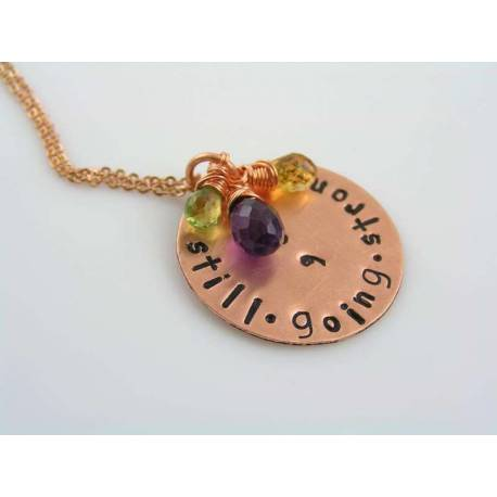 Hand Stamped Necklace, 'Still going strong' with Amethyst, Citrine and Peridot